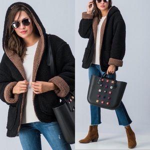 Jackets & Blazers - Reversible Black & Brown Hooded Sherpa Jacket